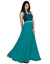 Surat Tex Sea Green Color Embroidered Velvet & Georgette Stitched Gown