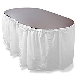 Pudgy Pedro\'s Reusable Plastic Table Skirt, 14\', White