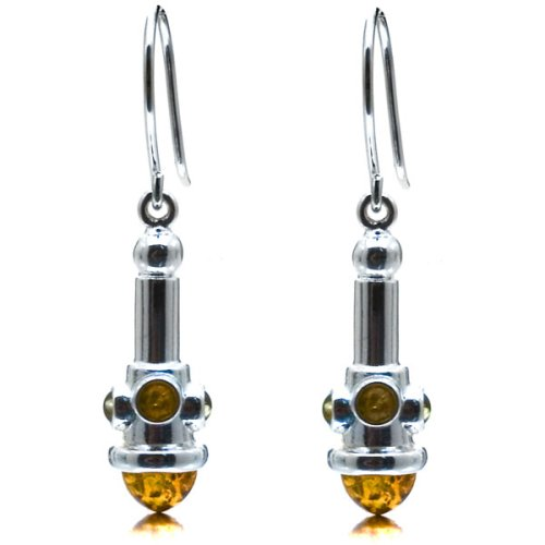 Certified Genuine Multicolor Amber and Sterling Silver Designer Earrings