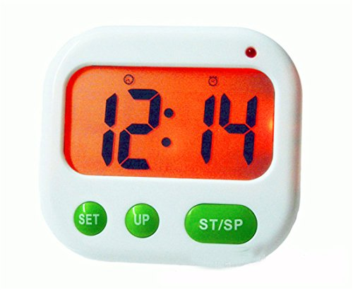 Surborder Shop Digital Kitchen Timer, Countup & Countdown Timer Maximum to 99 Minutes 59 Seconds with Luminous, Vibration, Alarm Clock, Clock, Key Lock