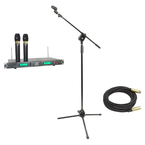 Pyle Mic And Stand Package - Pdwm2550 19'' Rack Mount Dual Vhf Wireless Rechargeable Handheld Microphone System - Pmks3 Tripod Microphone Stand W/ Extending Boom - Ppmcl50 50Ft. Symmetric Microphone Cable Xlr Female To Xlr Male