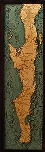 Wood Carved Nautical Chart of Baja Peninsula & Gulf of California by Woodchart