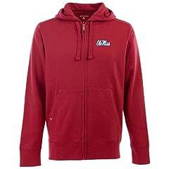 Mississippi Signature Full Zip Hooded Sweatshirt (Team Color) by Antigua