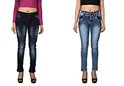 WineGlass Combo of 2 Ankle Fit Womens Stretch Denim Jeans 734DK735ST