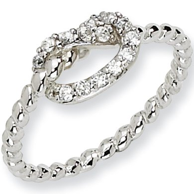 Size 6 - Sterling Silver Cubic Zirconia Knot Ring by Cheryl M