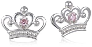 Disney Princess Sterling Silver Pink Crown Shaped Stud Earrings by Disney