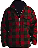 Woodland Trails Men's Heavy Warm Fleece Sherpa Lined Zip Up Buffalo Plaid Barn Jacket