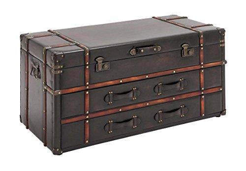 "Deco 79 55747 Wood Leather Coffee Table, 40"" x 21"", Dark Brown 1"