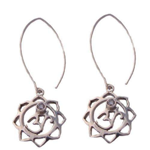 Om (Aum) Lotus Flower Drop Earrings with Cubic Zirconia