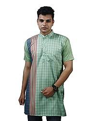 Modimania Solid Men's Chekered Green Modi Kurta