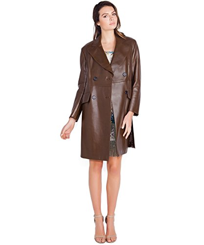 Prada Brown Leather Double Breasted Trench Coat
