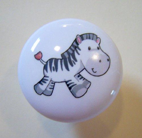 Zebra Baby Running Ceramic Cabinet Drawer Pull Knob