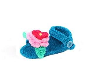EOZY Zapatos De Casa Para Bebé Tejido En Puntos Sandalias En Verano Con Flor Azul