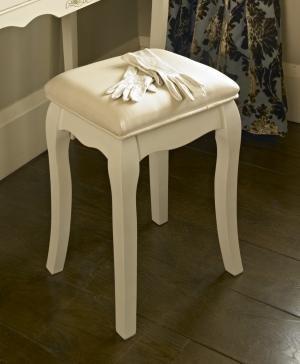 Pays Blanc Range - Antique WhitePadded Dressing Table Stool