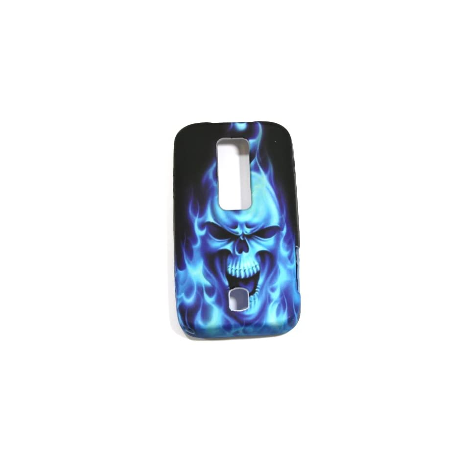 Blue Flaming Skull Soft Silicone Skin Gel Cover Case for Huawei Ascend M860