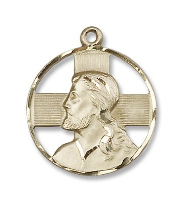 Gold Filled Head of Christ Medal Pendant Charm with 18