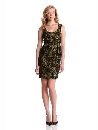 Amazon.com: BCBGMAXAZRIA Women's Etna Lace Sheath Dress With Peplum: Clothing