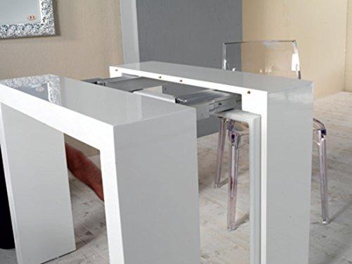 Tavolo legno consolle allungabile fino a 3mt bianco lucido laccato eglemtek tm - Tavolo a consolle allungabile ...