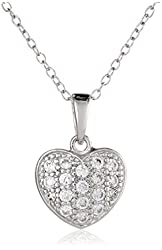 """Sterling Silver Cubic Zirconia Pave Heart Pendant Necklace, 16.5""""+2"""" Extender"""