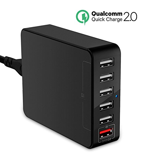 Quick Charge 2.0 Jelly Comb 6-Port USB Quick Charger Smart Desktop USB Power Adapter with SI Tech for iPhone 7, iPad Air, mini, Samsung Galaxy S7 / S6 / Edge / Plus, Note 5, LG G4 / G5, Nexus 6 & More (Jelly Comb Wireless Headphones compare prices)