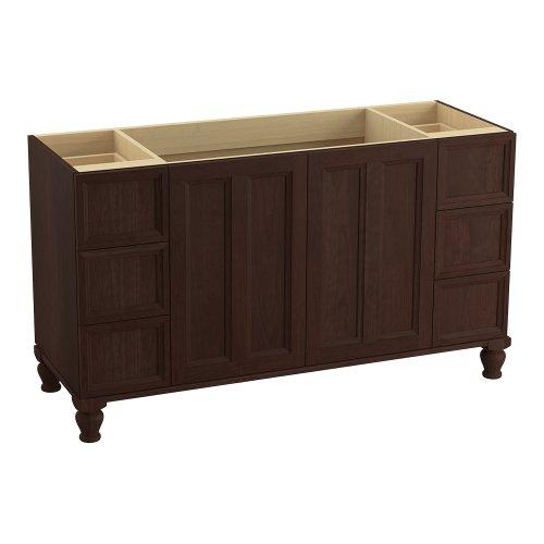 Kohler K-99523-Lg-1Wg Damask 60-Inch Vanity With Furniture Legs, 2 Doors And 6 Drawers, Cherry Tweed