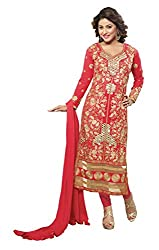 Khushali Presents Embroidered Georgette Dress Material (Pink)