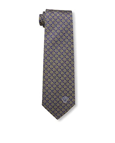 Versace Men's Silk Tie, Dark Blue/Yellow