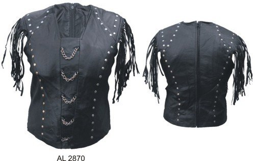 Ladies Leather Halter Top W/Chains Fringes And Stud Trim