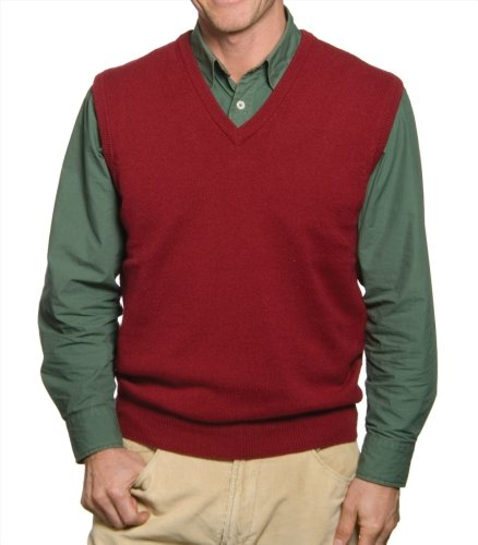 Mens Lambswool Slipover V Neck Sleeveless Jumper Wine Small