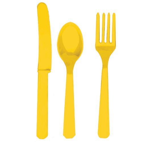 Yellow Sunshine Forks, Knives and Spoons (8 each)