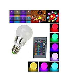 Lightahead® E27/E26 Standard Screw Base 16 Colors Changing Dimmable 3W RGB LED Light Bulb with IR Remote Control for Home Decoration/Bar/Party/KTV Mood Ambiance Lighting