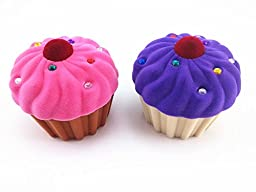 yueton Pack of 2 Cup Cake Shape Velvet Rhinestone Lovely Storage Box Candy Jewelry Gift Organizer Pill Case Container