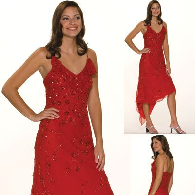 Formal Evening Gown. Silk Cocktail Dress for Prom, Party, Wedding by Sean Collection (8580)