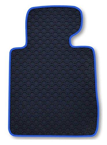 Passform Gummimatte Fussmatte Fahrermatte OCTAGON mit blauer Bandeinfassung - passend für Mercedes E-Klasse W211 / S211 Limousine / T-Modell Kombi Bj. 03/02 - 02/09 mit Mattenhalter