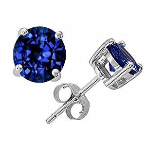 3.00 cttw 14K White Gold Plated 925 Sterling Silver Round 7mm Genuine Lab Created Sapphire Earring Studs - Gold Plated Silver