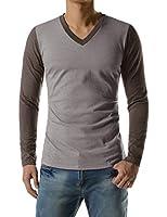 Mens Casual Slim Fit V-neck Long Sleeve Tshirts