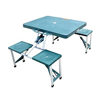 Outsunny Portable Folding Outdoor Camp Suitcase Picnic Table w/ 4 Seats