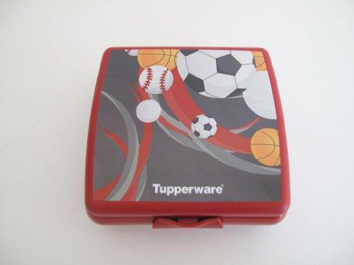 TUPPERWARE Sandwich-Box Jungen Schul Brotbox Behälter Dose ROT mit Bällen