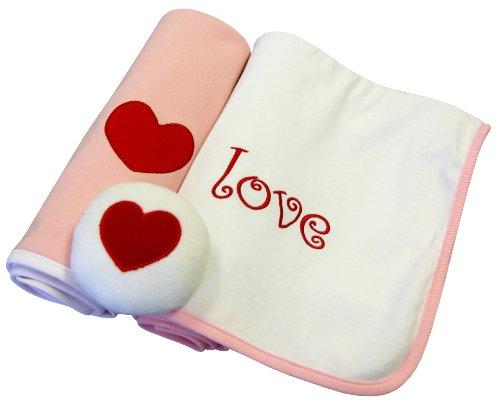 Tadpoles 3 Piece Blanket and Rattle Set, Love