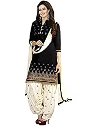 Sky Global Women's Cotton Printed Unstitched Regular Wear Dress Material (SKY_527_Black)