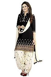 Sky Global Women's Cotton Printed Unstitched Regular Wear Dress Material (SKY_527_Black)
