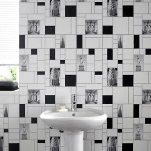 NYC Tile Wallpaper - Black and White from New A-Brend