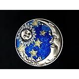 Jewelry Box Pewter Bright Blue Sun Moon & Stars Design