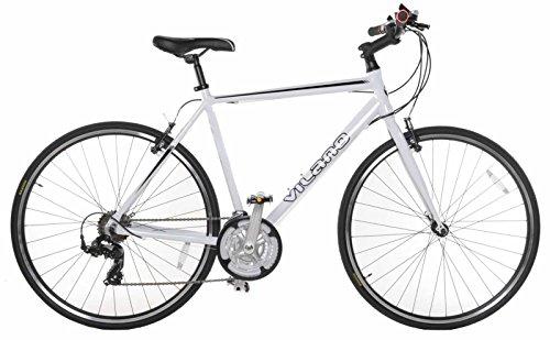 Vilano Performance 700c-21 Speed Shimano Hybrid Flat Bar Commuter Road Bike, White, 50cm