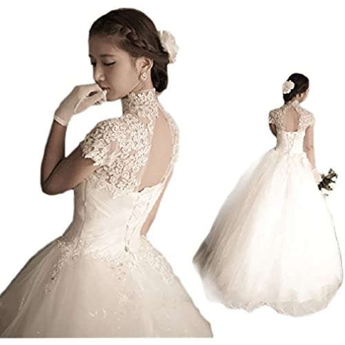 셀프웨딩 파티드레스 웨딩 드레스 하이넥 레이스 프린세스 라인 엘레강스 극상 드레스