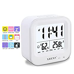 Table Clock,XREXS Digital Desk Alarm Clock with Month / Week / Day / Humidity / Temperature (C / F) Display,Rechargeable,Backlight,Electronic Clock for Kids/ Teens / Girls / Heavy Sleepers (White)