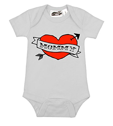 Mommy Heart Tattoo White & Red One Piece (6-12 Months) front-1033965