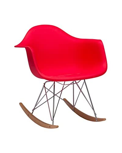 Baxton Studio Dario Plastic Mid-Century Modern Rocking Chair, Red