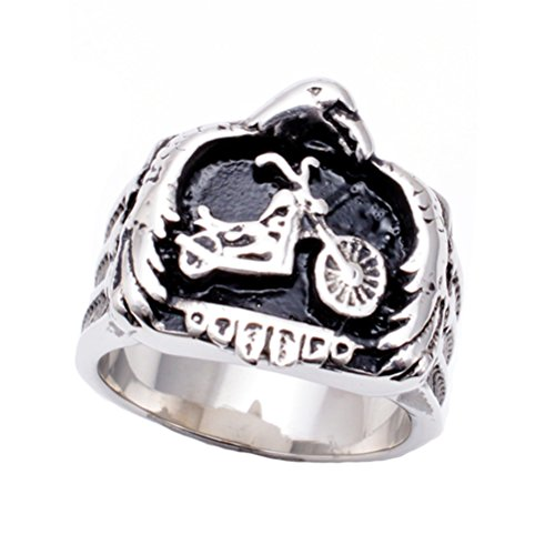 Men's Stainless Steel Five Pointed Star Motorcycle Animal Bird Ring