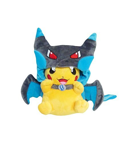 [Pokemon: 7-inch Mascot Pikachu Plush Doll - Mega Charizard X] (Charizard Costume For Pikachu)